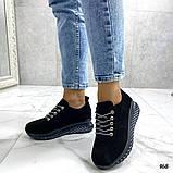 Женские кроссовки черные из натуральной кожи, фото 6