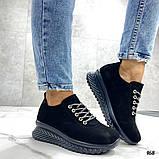 Женские кроссовки черные из натуральной кожи, фото 7