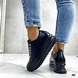 Женские кроссовки черные из натуральной кожи, фото 8