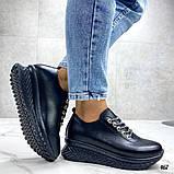 Женские кроссовки черные из натуральной кожи, фото 2