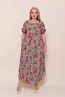 Женское длинное красное платье c цветами от производителя. Размер 54, 56, 58, 60 Опт \ розница