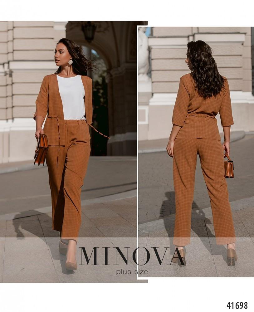 Деловой женский костюм пиджак и брюки большие размеры 50-64
