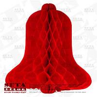 Красный подвесной колокольчик из бумаги тишью для декора h-31 см, d-30 см.
