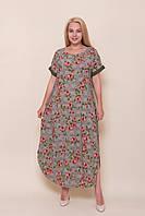 Женское длинное зеленое платье c цветами от производителя. Размер 54, 56, 58, 60 Опт \ розница