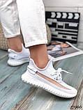 Жіночі кросівки текстильні YEEZY білі, фото 5