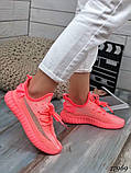 Жіночі кросівки текстильні YEEZY білі, фото 2