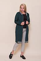 Жіночий кардиган на блискавці великого розміру зеленого кольору. Розміри 52, 54, 56, 58. Хмельницький, фото 1