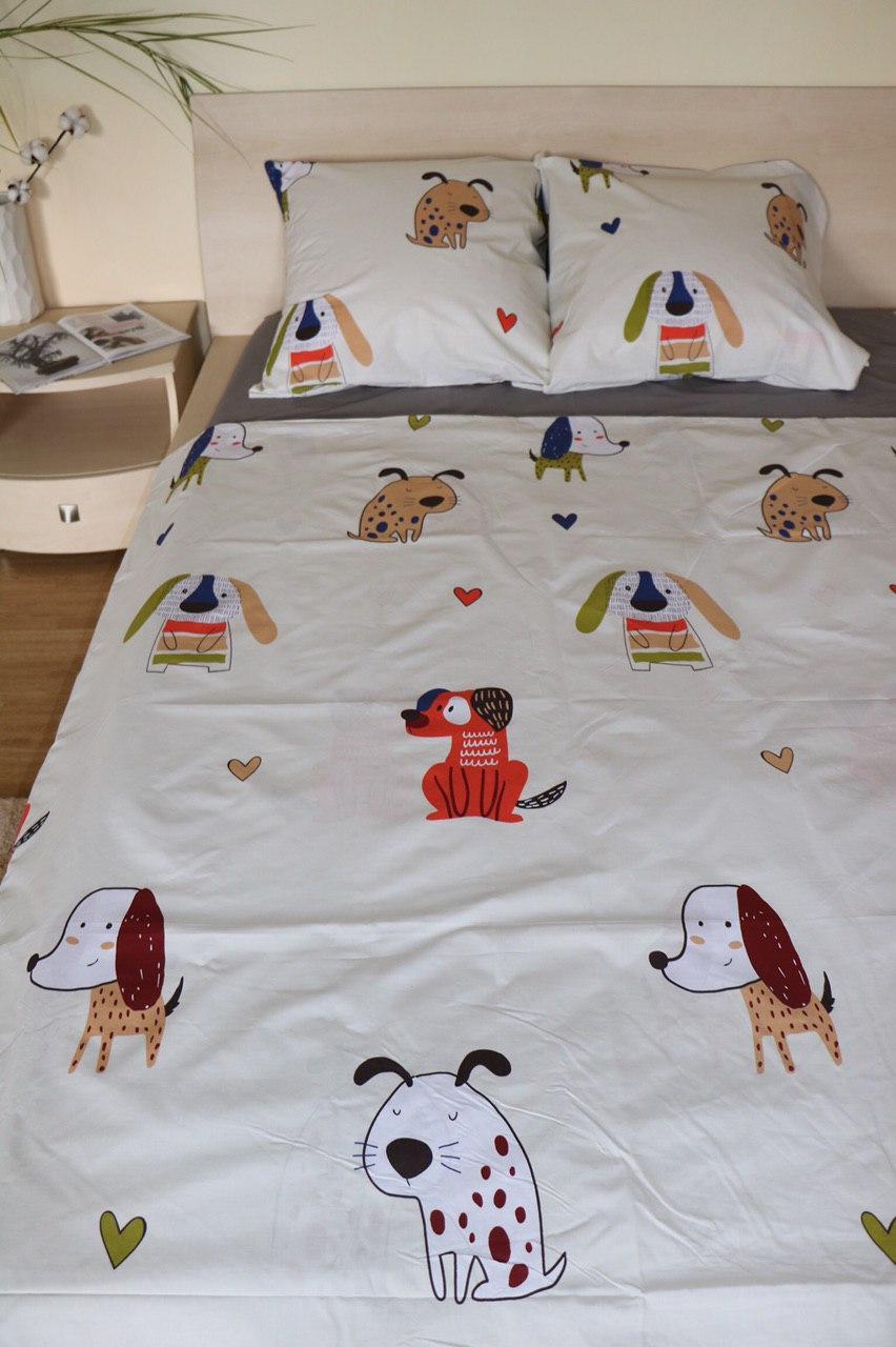 Комплект постельного белья подростковый  полуторный Собачки на белом