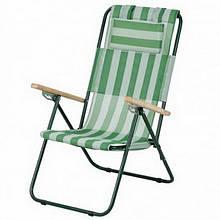 Крісло-шезлонг складне Vitan Ясен (960х585х1020мм), біло-зелене