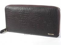Кожаный женский кошелек на молнии (клатч портмоне) PASSION с тиснением под рептилию, фото 1