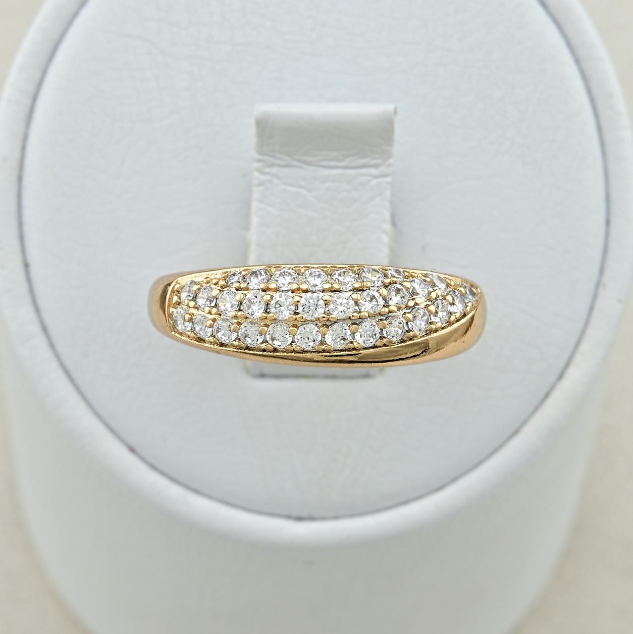 Кольцо Xuping Нью Йорк 14805 размер 17 ширина 6 мм вес 2.2 г белые фианиты позолота 18К