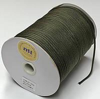 Шнур круглый одежный хаки диаметр 4 мм.