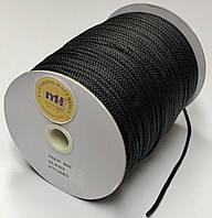 Шнур круглый одежный черный  диаметр 4 мм.