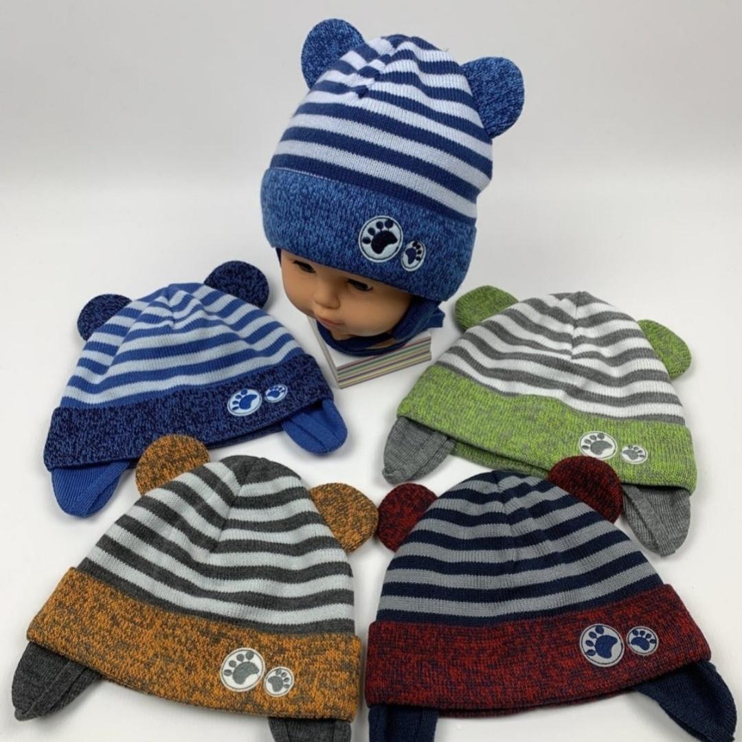Демисезонная шапка с ушками  для мальчика на хлопковой подкладке  Размер 42-44 см Возраст 3-7 месяцев