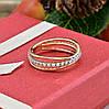 Кольцо Xuping 14806 размер 19 ширина 6 мм вес 2.2 г белые фианиты позолота с родированием 18К, фото 3