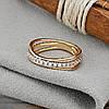 Кольцо Xuping 14806 размер 19 ширина 6 мм вес 2.2 г белые фианиты позолота с родированием 18К, фото 5