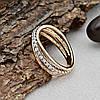 Кольцо Xuping 14806 размер 19 ширина 6 мм вес 2.2 г белые фианиты позолота с родированием 18К, фото 4