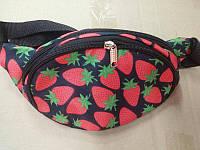 Поясная сумка бананка сумка на пояс тканевая с ярким принтом фрукты. В Расцветках, фото 1