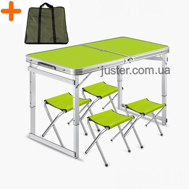 Усиленный стол + чехол для пикника раскладной с 4 стульями Easy Camping (Зеленый)