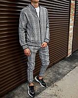 Спортивний костюм чоловічий Джентльмен сірий в клітку, фото 1