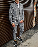 Спортивный костюм мужской Джентельмен серый в клетку