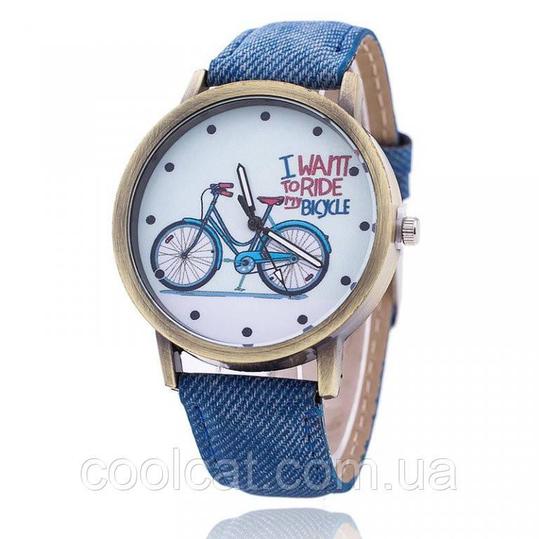Женские наручные часы / Часы на руку с велосипедом