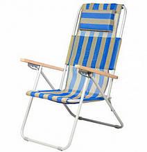 Крісло-шезлонг складне Vitan Ясен (960х585х1020мм), синьо-жовте