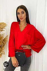 Женская красная рубашка с широкими рукавами