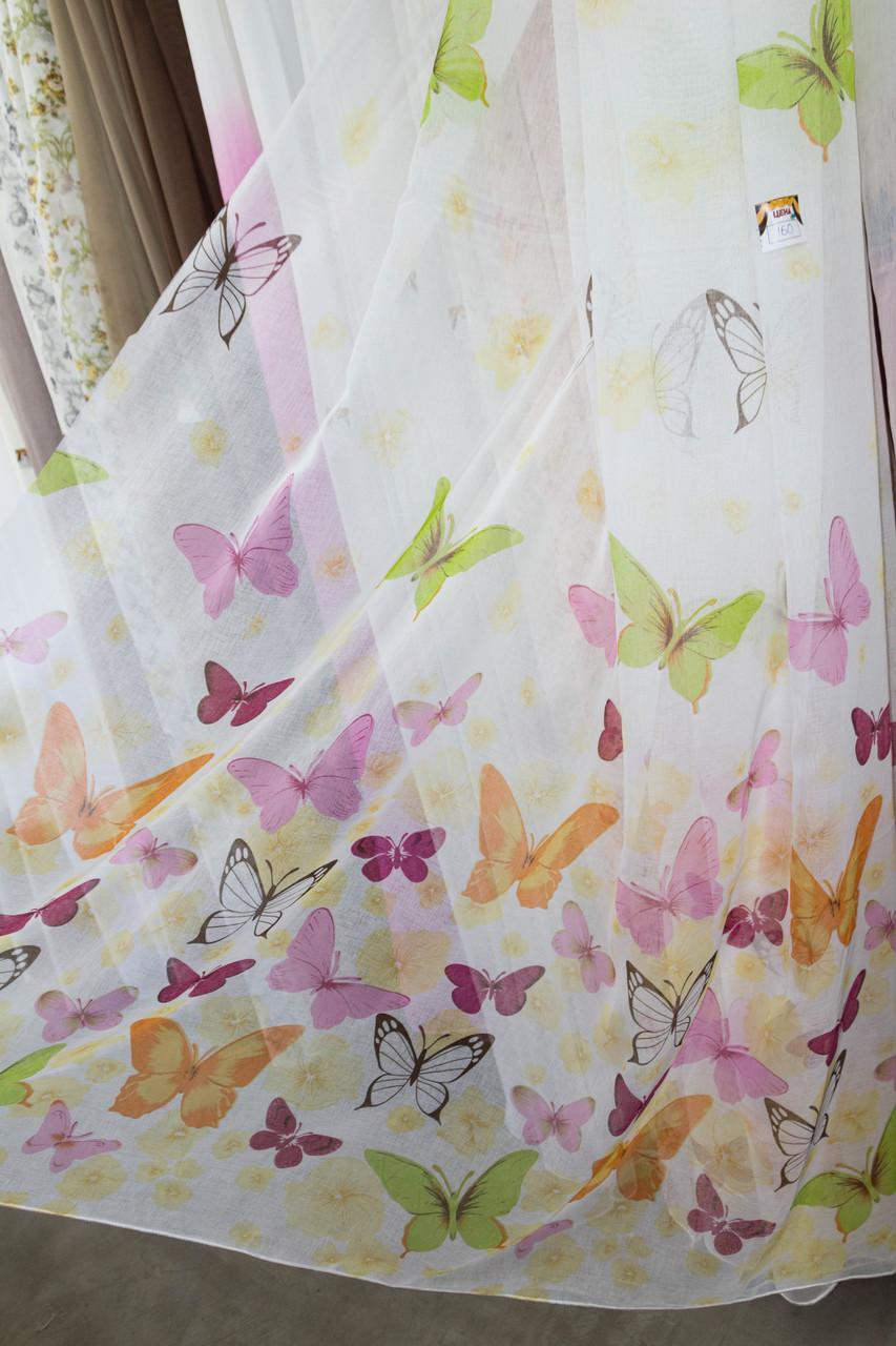 Тюль батист з малюнком Метелики, висота 270 см, Тюлі-гардинное полотно на метраж з пошиттям