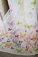Тюль с бабочками на батисте