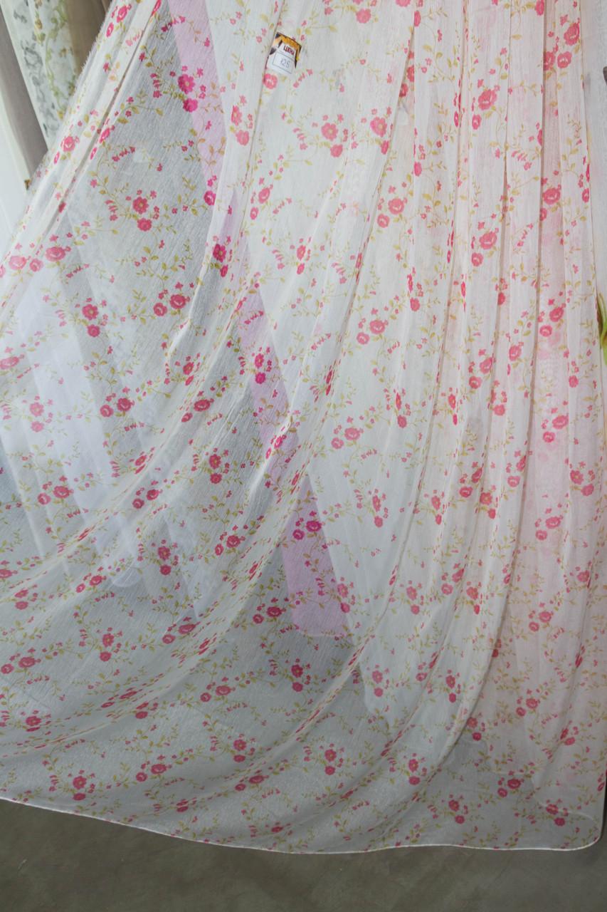 Тюль розовый цветочек
