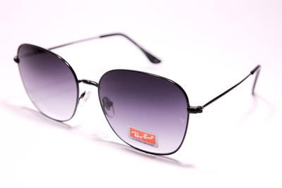Солнцезащитные очки полукруглые в тонком изящном металле, чёрно-фиолетовые градиентные линзы, унисекс