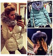 Зимняя куртка с НАТУРАЛЬНЫМ МЕХОМ чернобуркой на капюшоне!