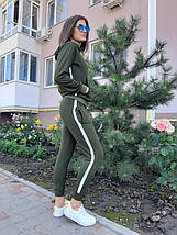 Женский спортивный костюм хаки с лампасами 44 р. BR-S 1233131417, фото 3