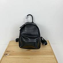 Рюкзак мини фактура крокодил / натуральная кожа (2854) -с39 Черный