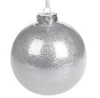 Елочный шар Серебро с глиттером, пластик 10 см