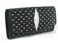 Женский кошелёк из натуральной кожи ската, цвет черный