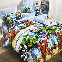 Дитяча постільна білизна Ранфорс, 1.5 - спальний, Месники.(Комплекти постільної білизни, Красивое постельное)