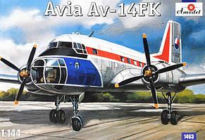 Сборная модель чехословацкого пассажирского самолета AVIA AV-14FK. 1/144. AMODEL 1463