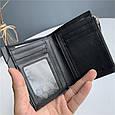 Мини кошелек с отделением для мелочи на молнии / натуральная кожа (10239) Черный, фото 4
