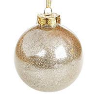Елочный шар Золото с глиттером, пластик 8 см