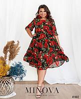 Женское шифоновое платье с цветочным принтом Размер 50 52 54 56 58 60 62 64