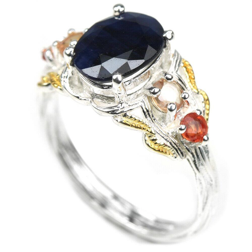 Серебряное кольцо с сапфирами, 2433КЦС