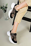 Кроссовки женские замшевые темно-бежевые с черным с вставками хаки кожи, фото 8