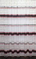 Тюль фатин полоса, цвет черный с красным. Код 590т