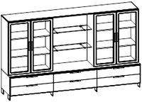 Шкафная группа средний Evolution МДФ 25\706 (2400х500х1700), фото 1