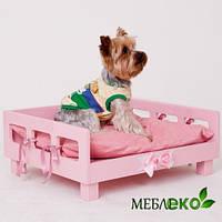 Розовая кроватка для щенка - девочки, Кроватка для щенка от производителя.