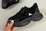 Кроссовки женские замшевые черные с вставками кожи, фото 7