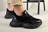Кроссовки женские замшевые черные с вставками кожи, фото 8