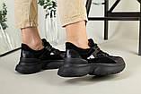 Кроссовки женские замшевые черные с вставками кожи, фото 3